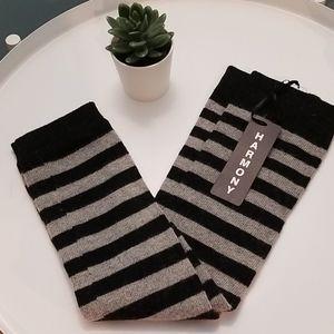 Harmony black and gray stripe leg warmers NWT